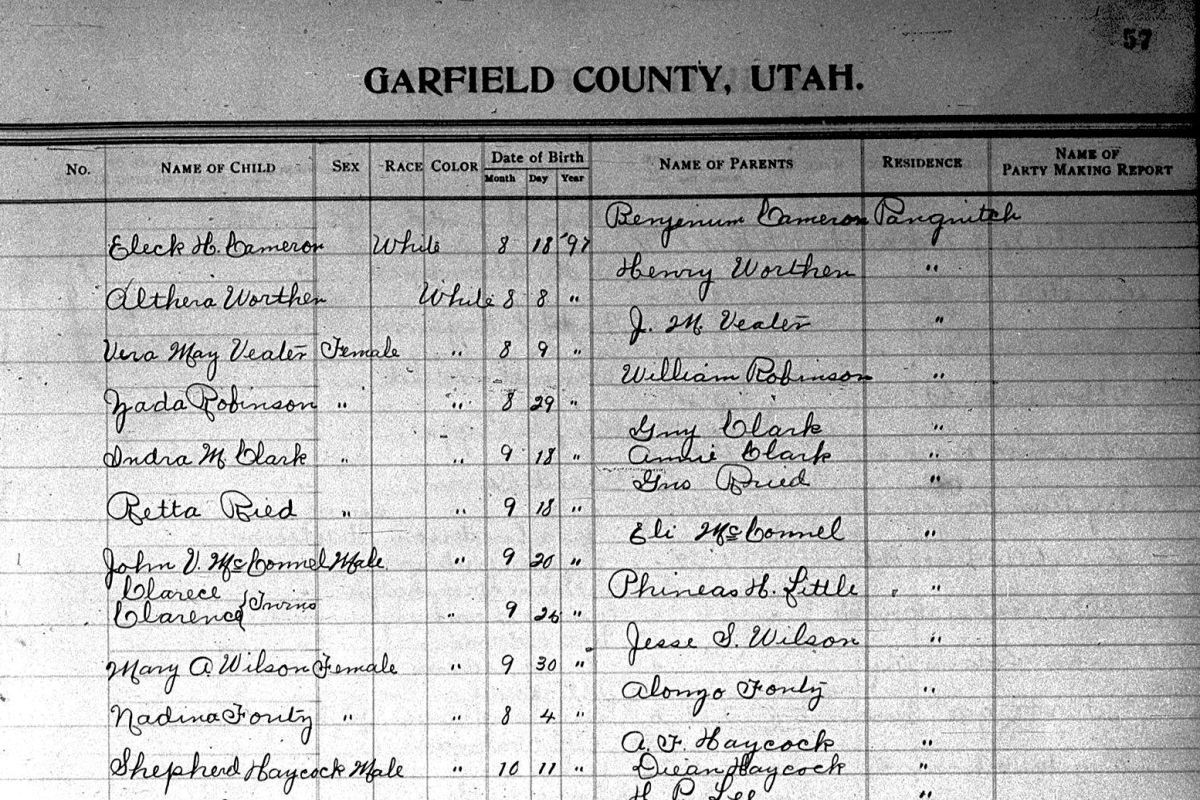 Page from Garfield County Birth Register